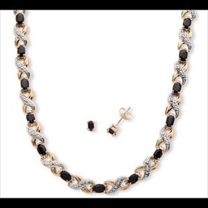 Jewelry - Oval Cut Black Sapphire Necklace and earrings